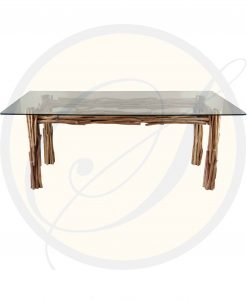 Driftwood dining table | metal inner frame | tempered glass top Wholesale price moq 6 pieces ↑ 76cm. ↔ 200x100cm. finishing and sizes can be changed on request include export packing full product specifications on quotation