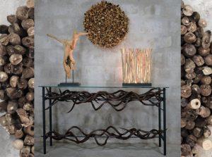 led driftwood lamp, driftwood wall decor, kudu horn side table, driftwood art