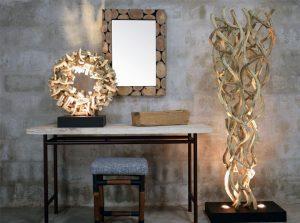 driftwood chair, driftwood stool, vines table lamp, vines floor lamp