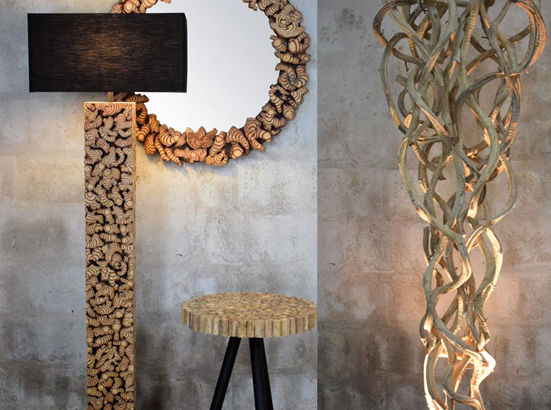 vines floor lamp, driftwood, decoration,