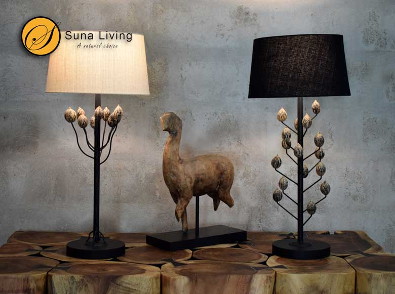 Suna Living natural palm seed lamps