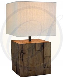 Reclaimed wood table lamp by Suna Living